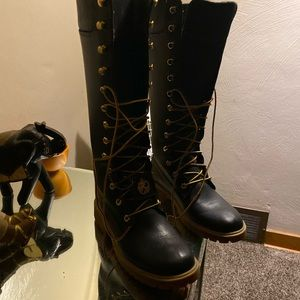 Black special made women timberland boots